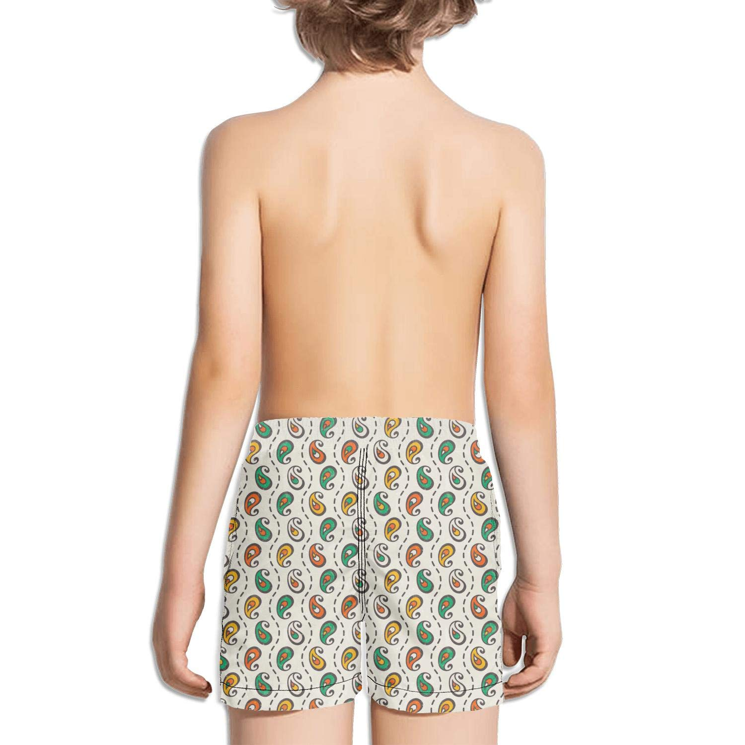 jhnkmmnc Retro Paisley Seamless Print Elastic Adjustable Stretch Board Swim Shorts