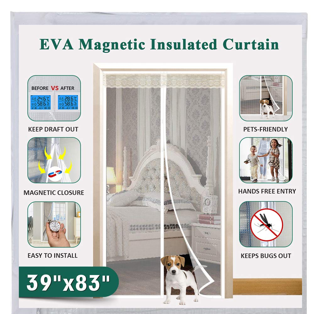 "Insulated Magnetic Door Curtain, IKSTAR EVA Thermal Door Cover Fit Door Size Up to 36""x82"", for Exterior/Interior/Kitchen Doors with Draft Stopper, Hands Free Closure and Pets/Kids Walk Through Free"