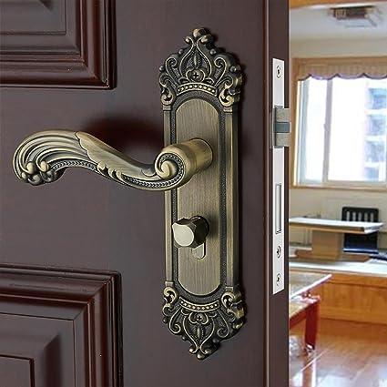TDJDYQ Cerraduras interiores de estilo europeo Retro Cuarto baño Bloqueo de manija Madera maciza Bloqueo de