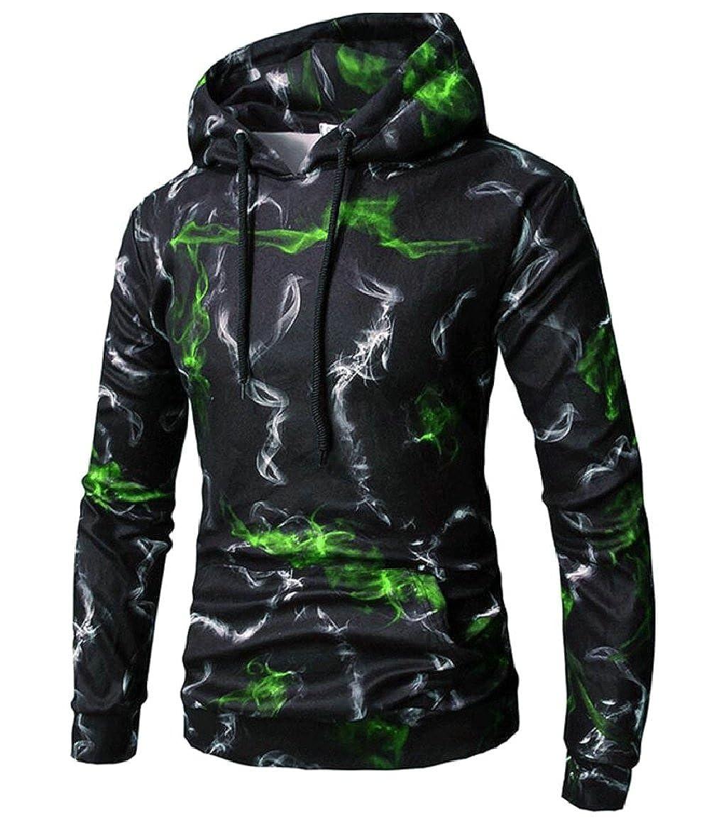 shinianlaile Men 3D Pattern Printed Fashion Drawstring Hoodie Sweatshirts