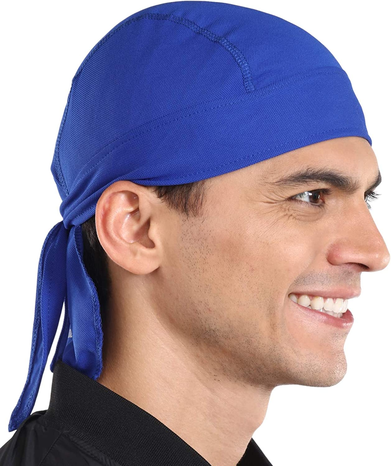 Cooling Helmet Liner - Do Rag/Dew Rag Skull Cap Beanie for Men - Pirate Hat Bandana & Motorcycle Head Wrap