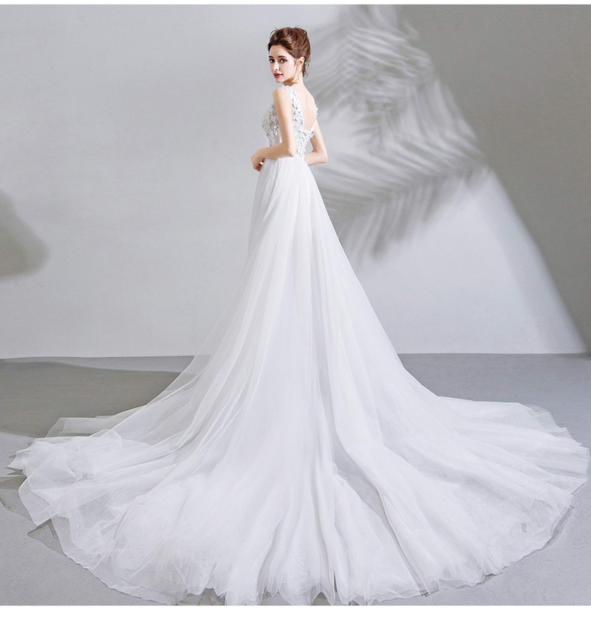 NOMSOCR Women's Lace V Neck Sleeveless Wedding Dresses Mermaid Bridal Gown (M, White) by NOMSOCR (Image #3)