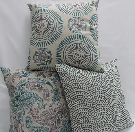 Confección Saymi Fundas cojin 3 Uds. Ref. Bombay Color Verde 45 x 45 sin Rellenos, Tejido panamá Estampado