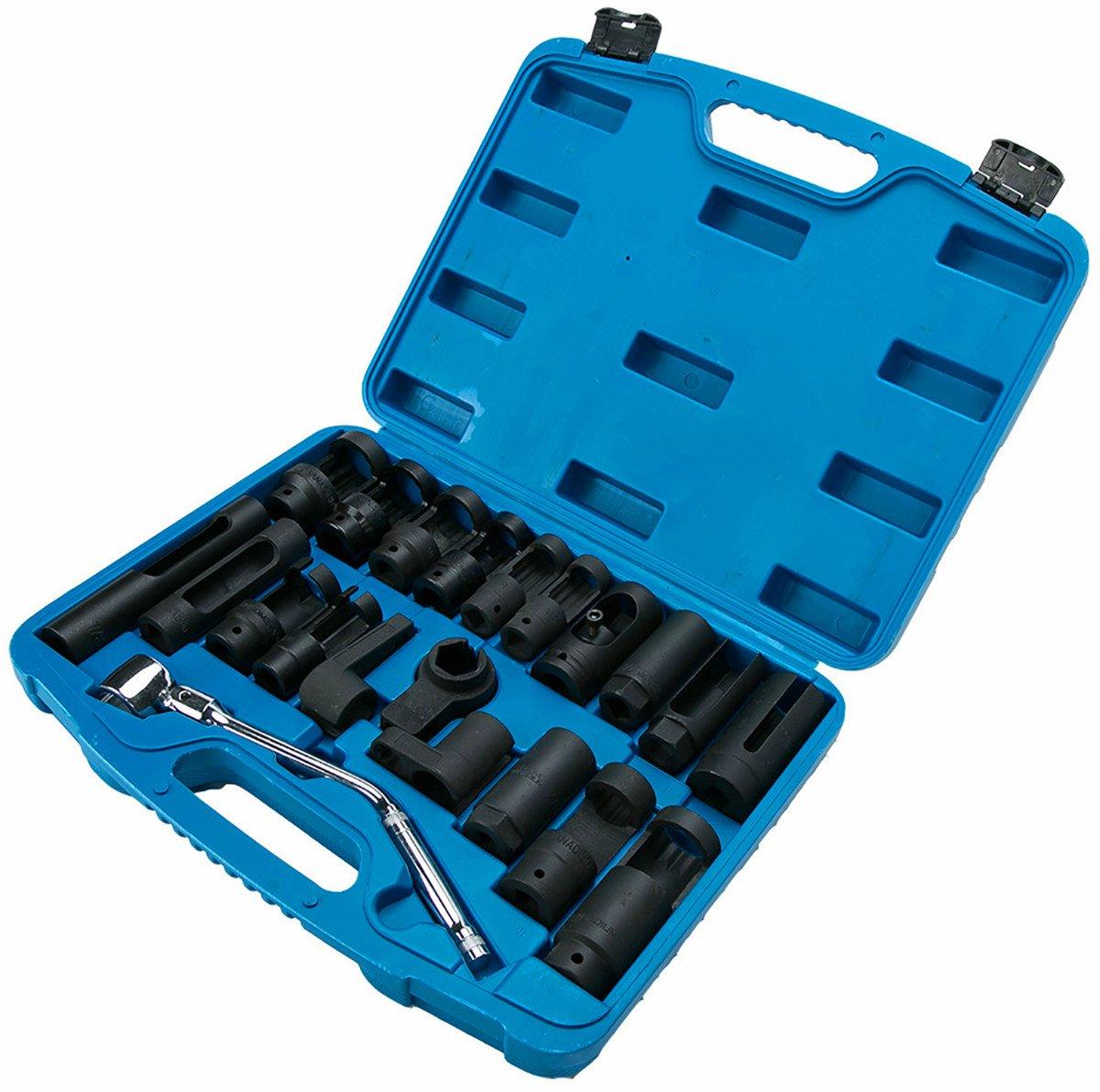 8milelake 21pcs Oxygen Sensor Socket Set Sensor Oil Pressure