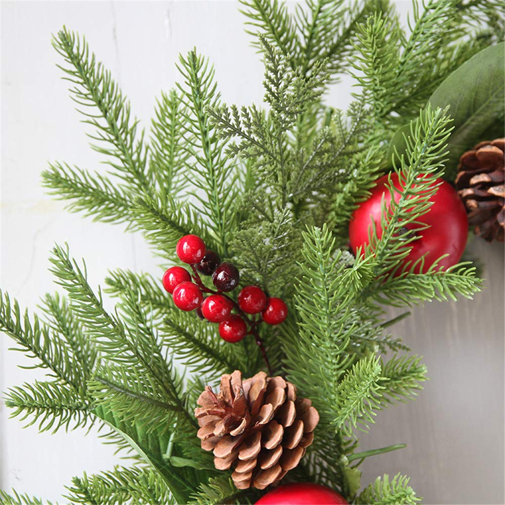 Promisen Christmas Wreath,Merry Christmas Garland Decorations with Red Berries Bells for Christmas Party Decor Front Door Wall,55-60cm Diameter (A) by Promisen (Image #3)