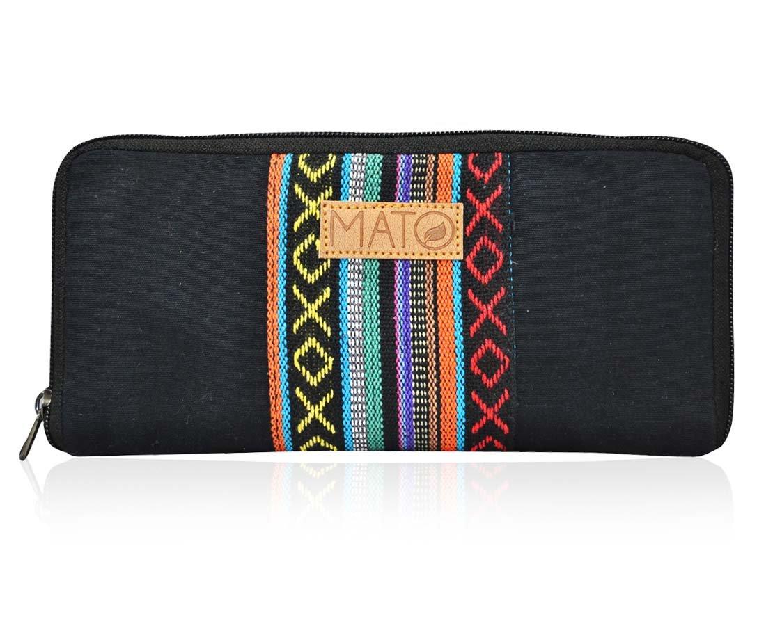 Mato Boho Womens Wallet Bohemian Wristlet Clutch Purse Woven Baja Pattern Black