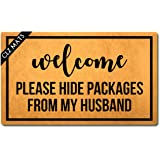 CLZ Mat Welcome Mats Welcome Please Hide Packages from My Husband Doormat Monograms Funny Welcome Mats for Entrance Way Anti-