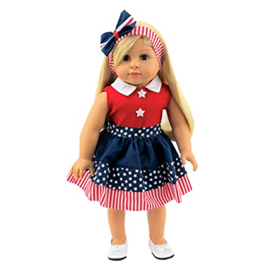 American Fashion World 4th of July Stripe Dress fits 18 Inch Doll: Toys & Games