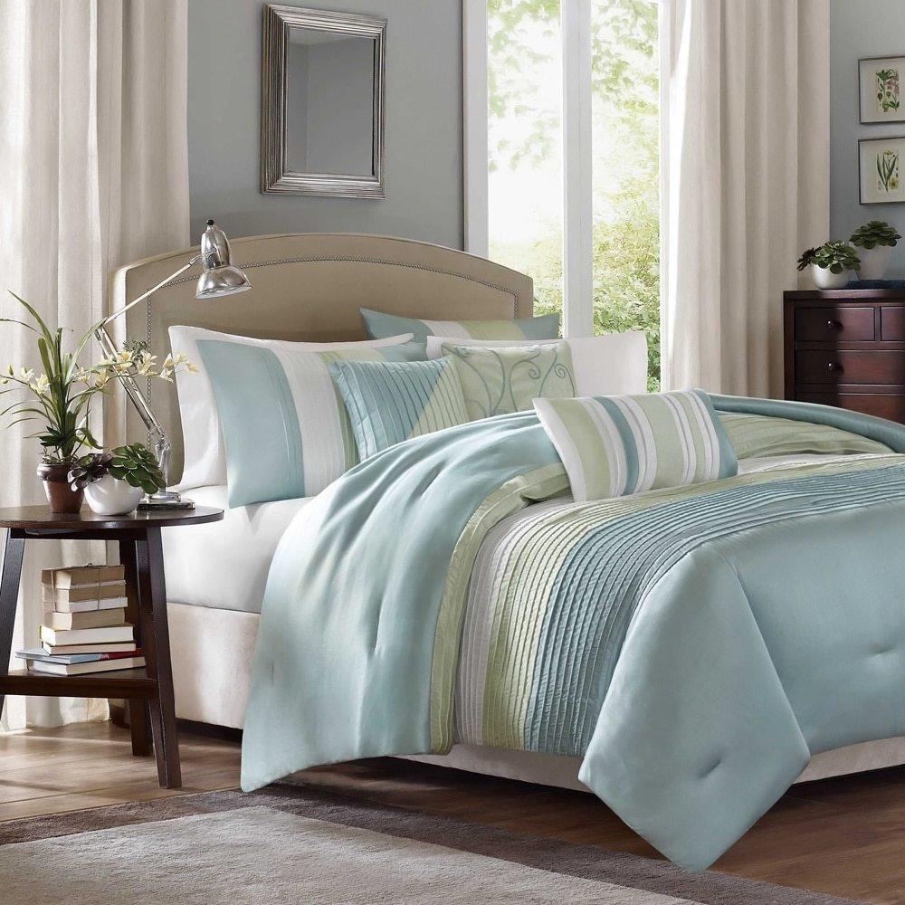 6 PieceライトAqua薄い緑ストライプ掛け布団カバーキングセット、ブルー大人用ベッドマスター寝室スタイリッシュなピンタックパターンエレガントな刺繍枕Traditional、ポリエステルストライプ B06XYRFY46
