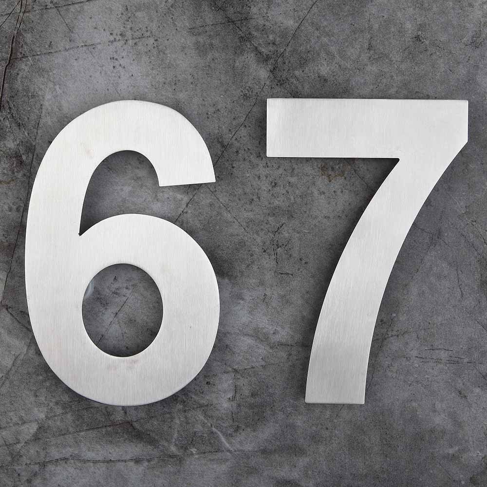 Mellewell House Number Floating 10 Inch Stainless Steel Brushed Nickel, Number 7 Seven, HN10-7