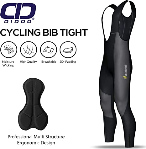 Didoo Mens Cycling Bib Tights Winter Thermal Padded Long Legging Cycling Trouser