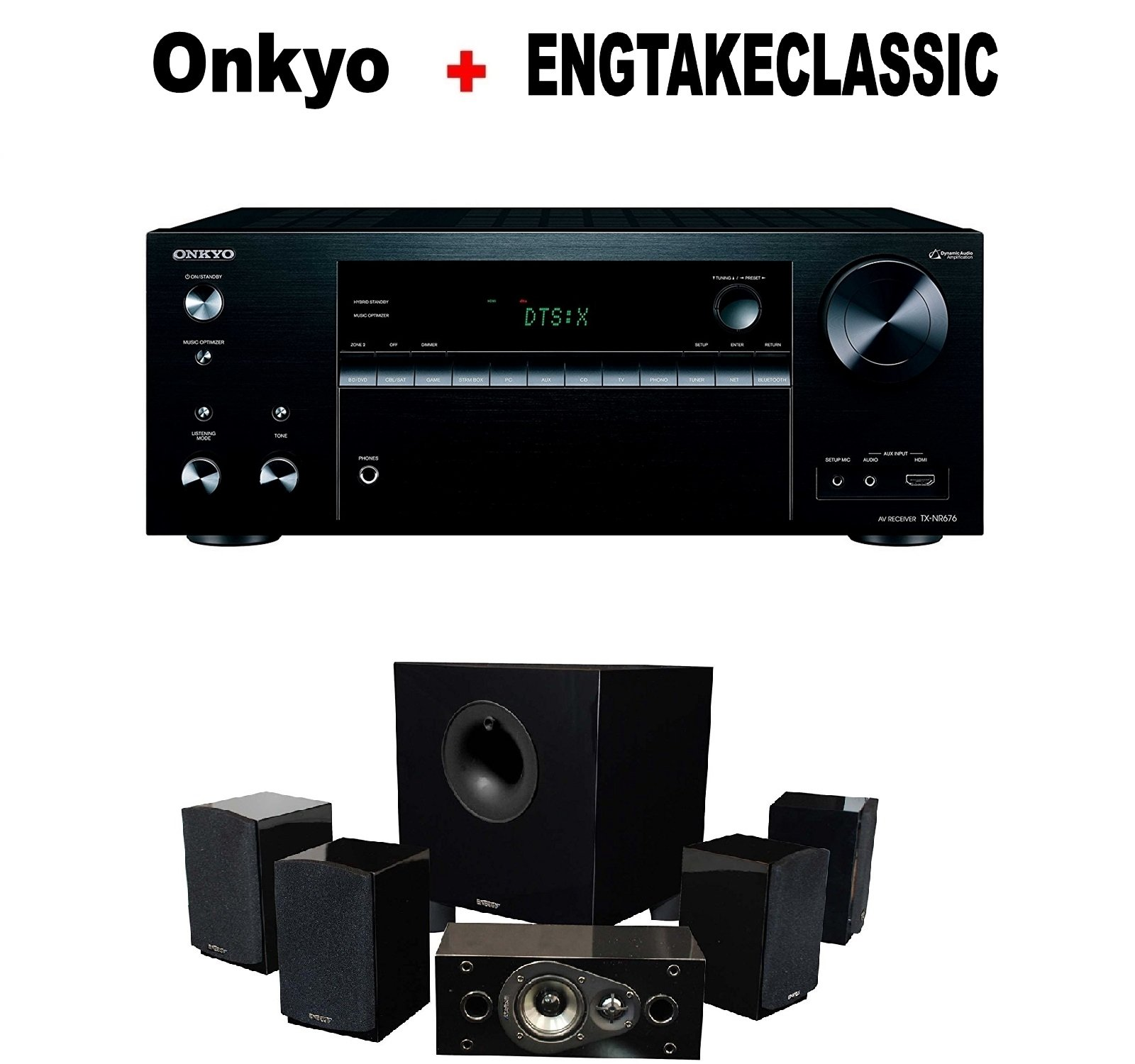Onkyo Powerful Audio & Video Component Receiver Black (TX-NR676) + Energy 5.1 Take Classic Home Entertainment System (Set of Six, Black) Bundle