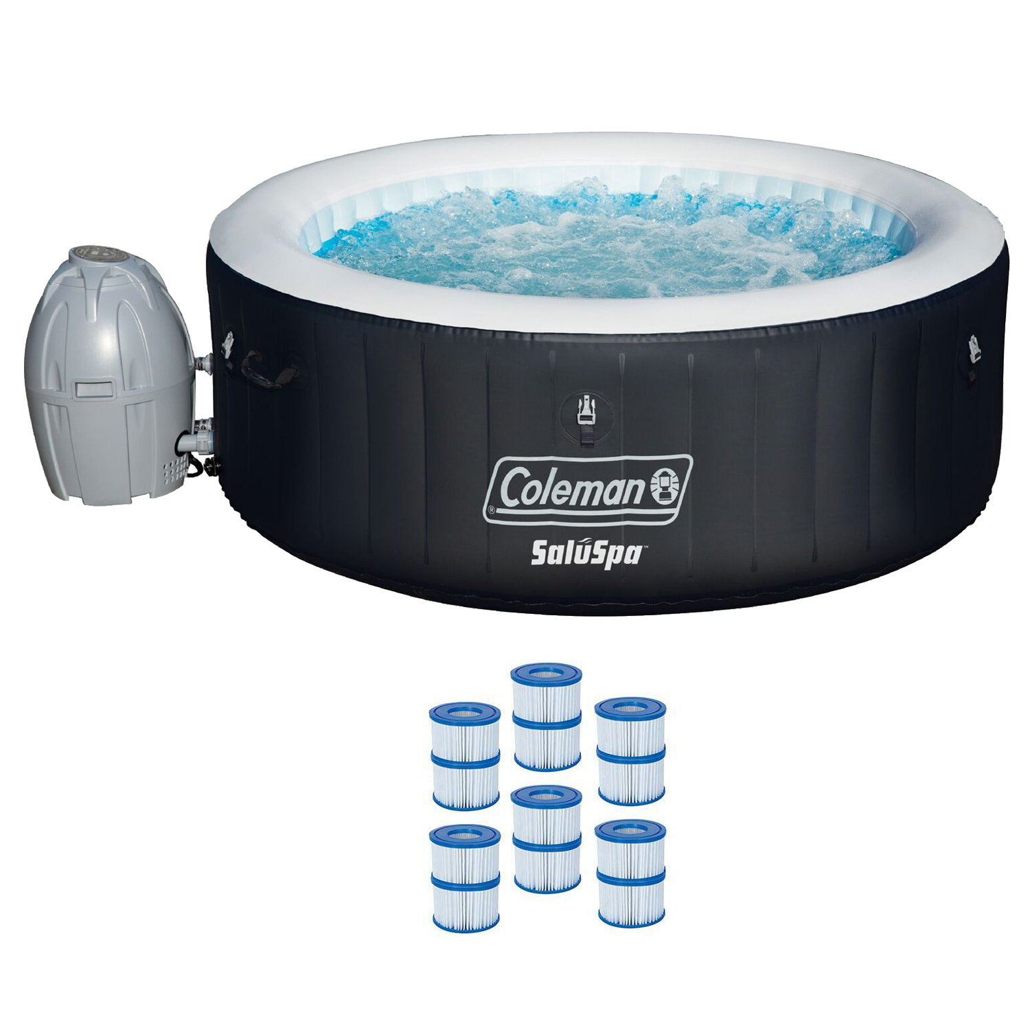 Coleman 71'' x 26'' Inflatable Spa 4-Person Hot Tub with 6 Filter Cartridges