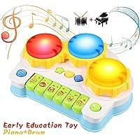 BelleStyle Juguete Piano,Bebe Educativo Juguete de Musical Eléctrico Piano, Luz Brillante y Sonidos de Tambores y Animales Preschoool Juguete Ninos3+(Blue)