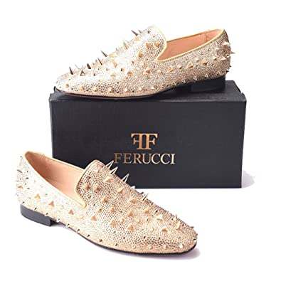 befed73cf9 FERUCCI Men Gold Spikes Slippers Loafers Flat with Crystal GZ Rhinestone