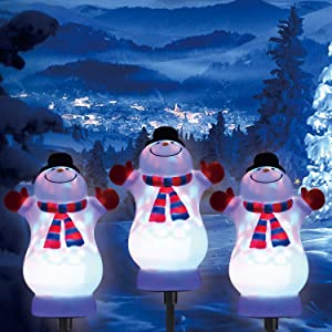 Christmas LED Path Lights Outdoor, 3 Pack Snowman Garden Pathway Lights, 5V Low Voltage Plug in Waterproof Landscape Garden Lights for Patio, Yard, Lawn Christmas Decoration