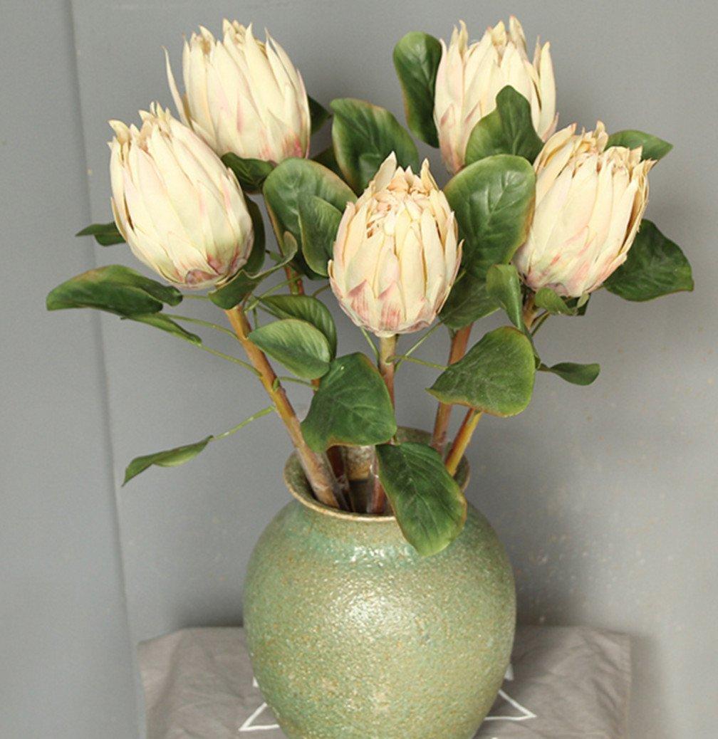 skyseen 3pcs人工Protea cynaroidesシルクフラワー花のアレンジメントホームパーティーウェディングの装飾 B0795Y71VV