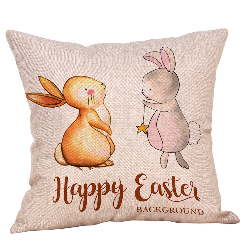Amazon.com: Happy Easter Pillow Cases Linen Sofa Cushion ...