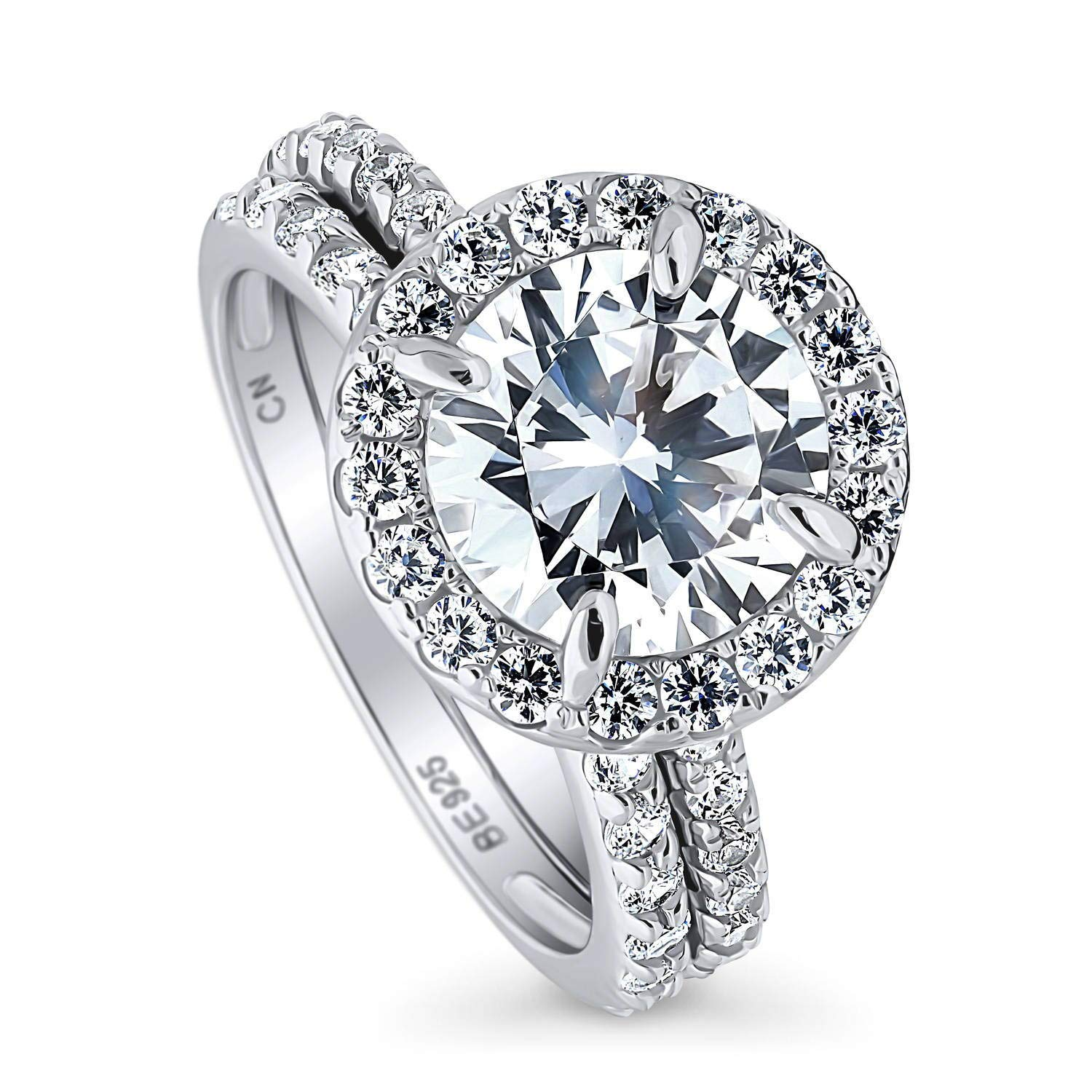 BERRICLE Rhodium Plated Sterling Silver Round Cubic Zirconia CZ Halo Engagement Wedding Ring Set 3.76 CTW Size 10