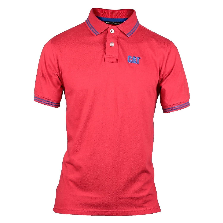 Caterpillar Mens Horsepower Contrast Cotton Polo Shirt Red: Amazon ...