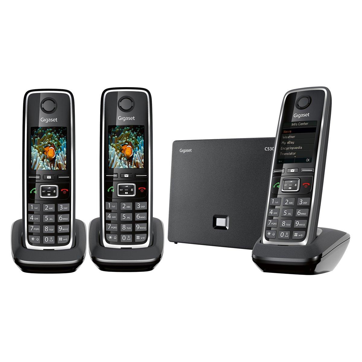 Gigaset C530 IP Duo T/él/éphone sans Fil DECT Hybride Noir