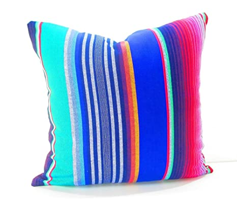 Mexican Pillow Cover, Serape Pillow, Tribal, Decorative Pillow 20 Inch, Mexican Cushion Cover, Striped Blue, Red, Green, Bright