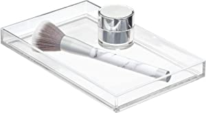 """iDesign Clarity Plastic Towel Tray Vanity Tray for Bathroom, Kitchen, Office, Craft Room, Countertops, Closets, 8.75"""" x 5.3"""" x 0.9"""", Clear"""