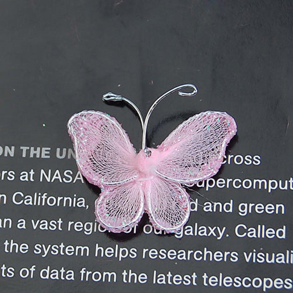Rose 50pcs Papillons de Bas de Maille Scintillants