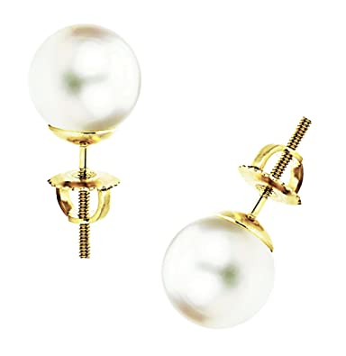 d6f2a6d4b Image Unavailable. Image not available for. Color: 14K Gold White South Sea Cultured  Pearl Stud Earrings - AAAA Quality