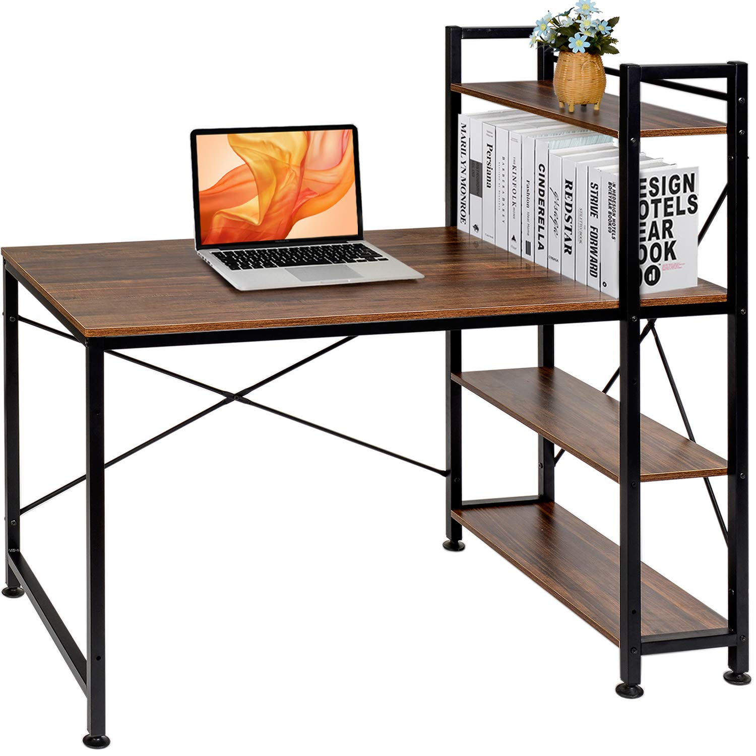 VECELO Computer Office Desk/Multipurpose Study Table with 4 Tier Bookshelves, Brown