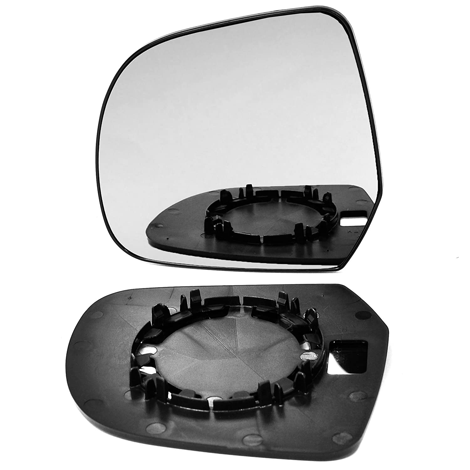 Left passenger side wing door clip on mirror glass