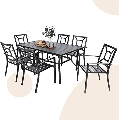 MFSTUDIO 7 Piece Metal Patio Dining Sets Outdoor Club Bistro Bar Set