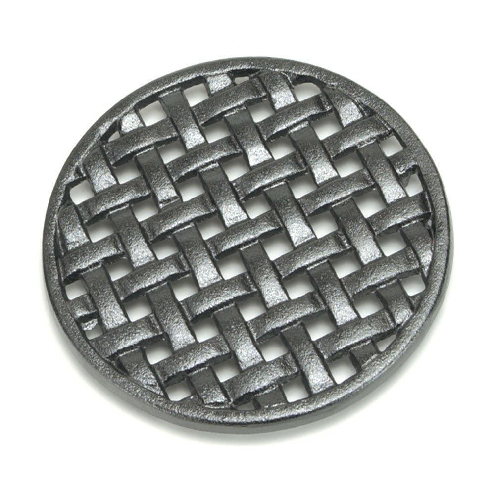 Minuteman International Round Lattice woodstove tabletop cast iron trivet Black
