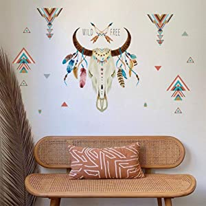 ufengke Wild Free Bull Horn Wall Stickers Feather Triangle Wall Decals Art Decor for Living Room Bedroom Office