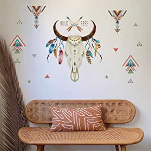 ufengke Pegatinas de Pared Cuerno de Toro Wild Free Letras Vinilos Adhesivas Pared Pluma Triángulo Decorativos para Dormitorio Sala de Estar Oficina: Amazon.es: Hogar