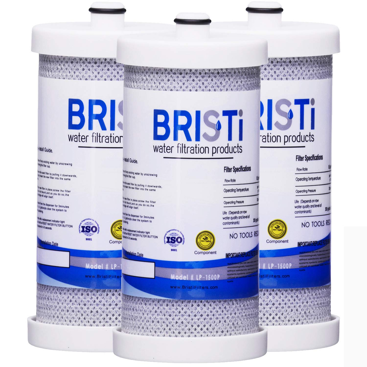 Bristi WF1CB Refrigerator Water Filter Replacement And Fits WFCB, RG 100, NGRG2000, RF-100, RG100, NGRG-2000, 9910, 46-9910 (3 Pack)