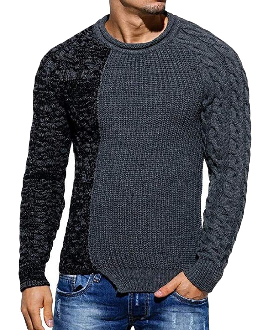 XiaoTianXinMen XTX Men Round Neck Slim Fit Knit Color Block Pullover Jumper Sweaters