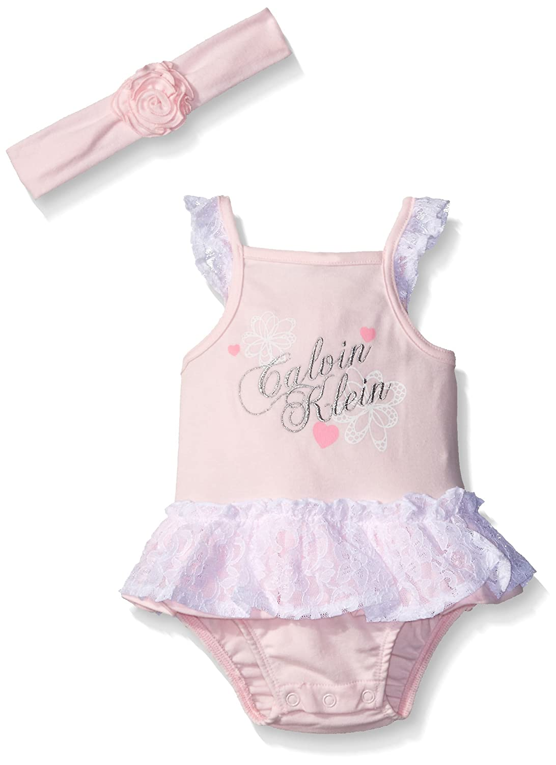 Calvin Klein Baby Girls' Combed Interlock Lace Accent Sunsuit with Headband CKLGA-0095