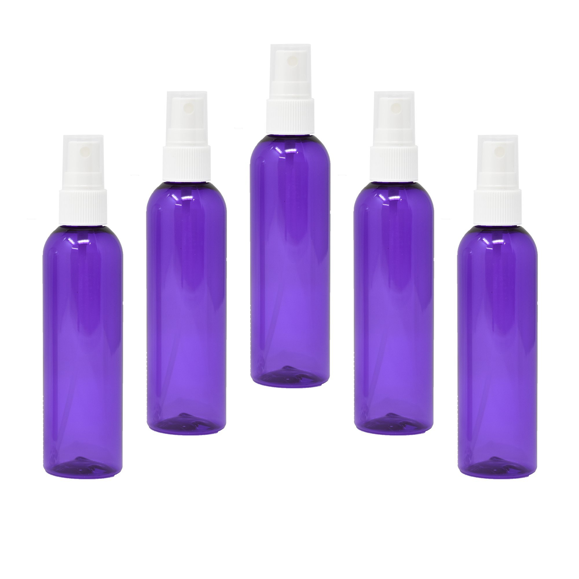 Plastic Spray Bottles 4oz with Fine Mist Sprayer (5 Pack, Purple)