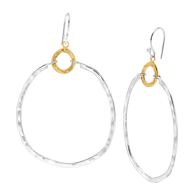 Silpada 'Dynamic Duo' Double Circle Drop Earrings in Sterling Silver & Brass