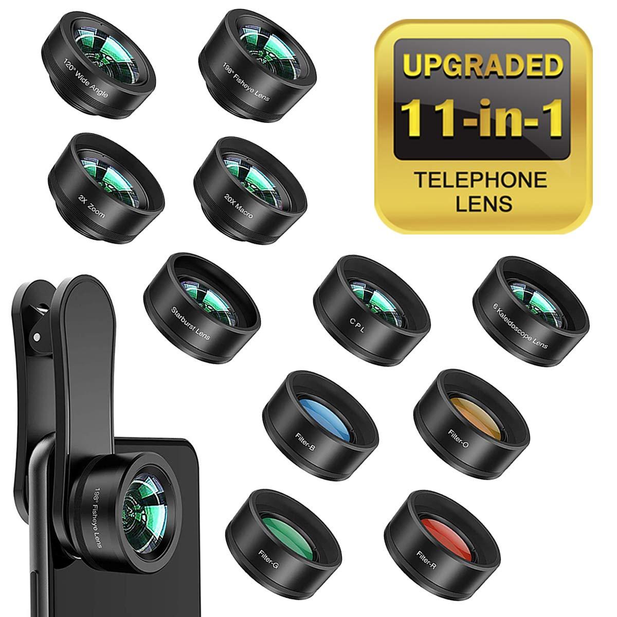 4b6dd1f7b1 11 en 1 Kit de Lentes móviles,Lentes de telefono, Gran Angular, Macro, Ojo  de pez,teleobjetivo, caleidoscopio, Cuatro filtros de color, ...