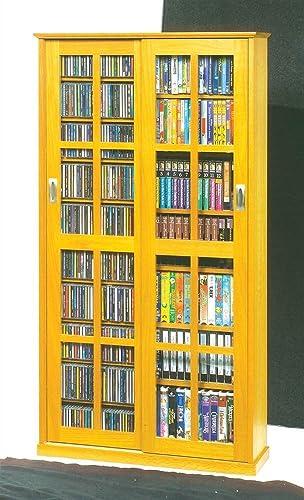 Leslie Dame Mission Multimedia DVD CD Storage Cabinet with Sliding Glass Doors, Oak