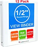 3 Ring Binders, 0.5 Inch Round Rings, White, Clear View, Pockets, 12 Pack