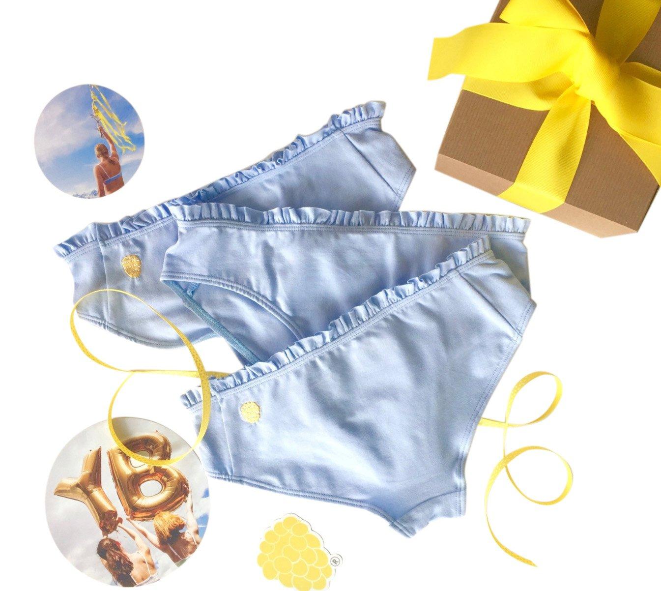 Yellowberry Pom Pom Underwear Bundle - Cutest Ruffle Cotton Bikini - Great for Girls, Tweens and Teens! (LG, Raindrop)