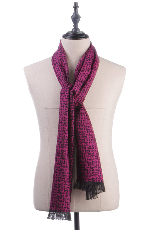 100% Pure Silk Unisex Fashion Irregular Print Tassel Scarf