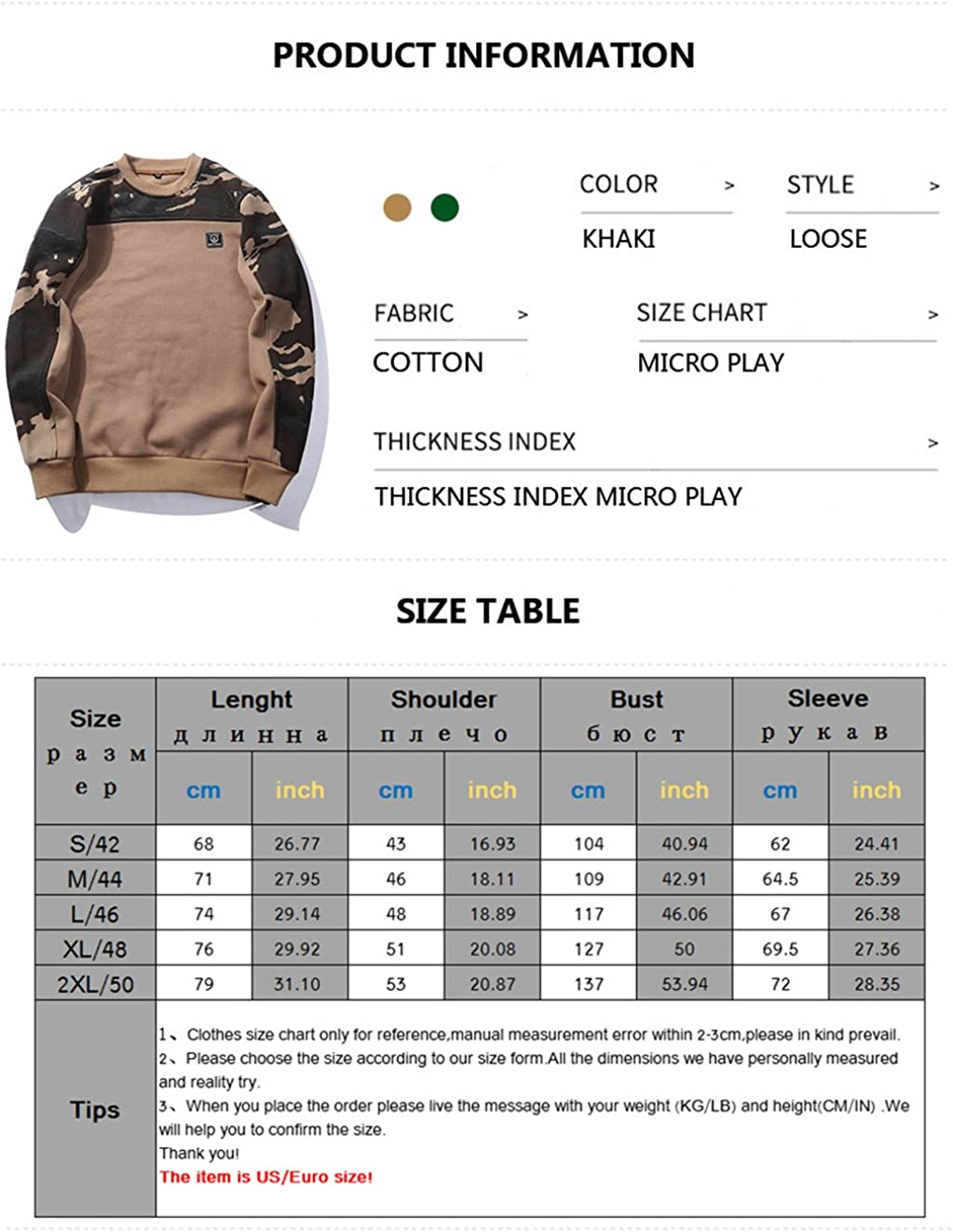 GWELL Mens Camouflage Shoulder Pullover Sweat Shirt Classic Crew Neck Outdoor Sports Sweatshirt