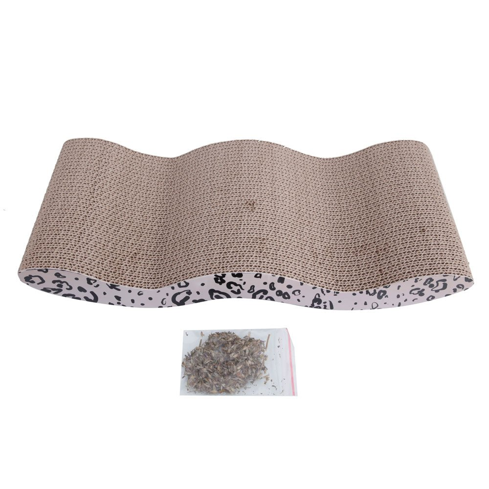 Lovinland Cat Claw Plate 16.45 x 8.35 x 2.56 inch L x W x H Corrugated Paper Grinding Claw Plate with Catnip Wave Style Leopard Print