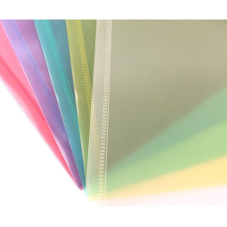 BEETEST Rapesco Documentos 12pcs tamaño A4 surtido de colores clara carpeta de archivo de papel documento con botón para oficinistas de oficina estudiantes ...