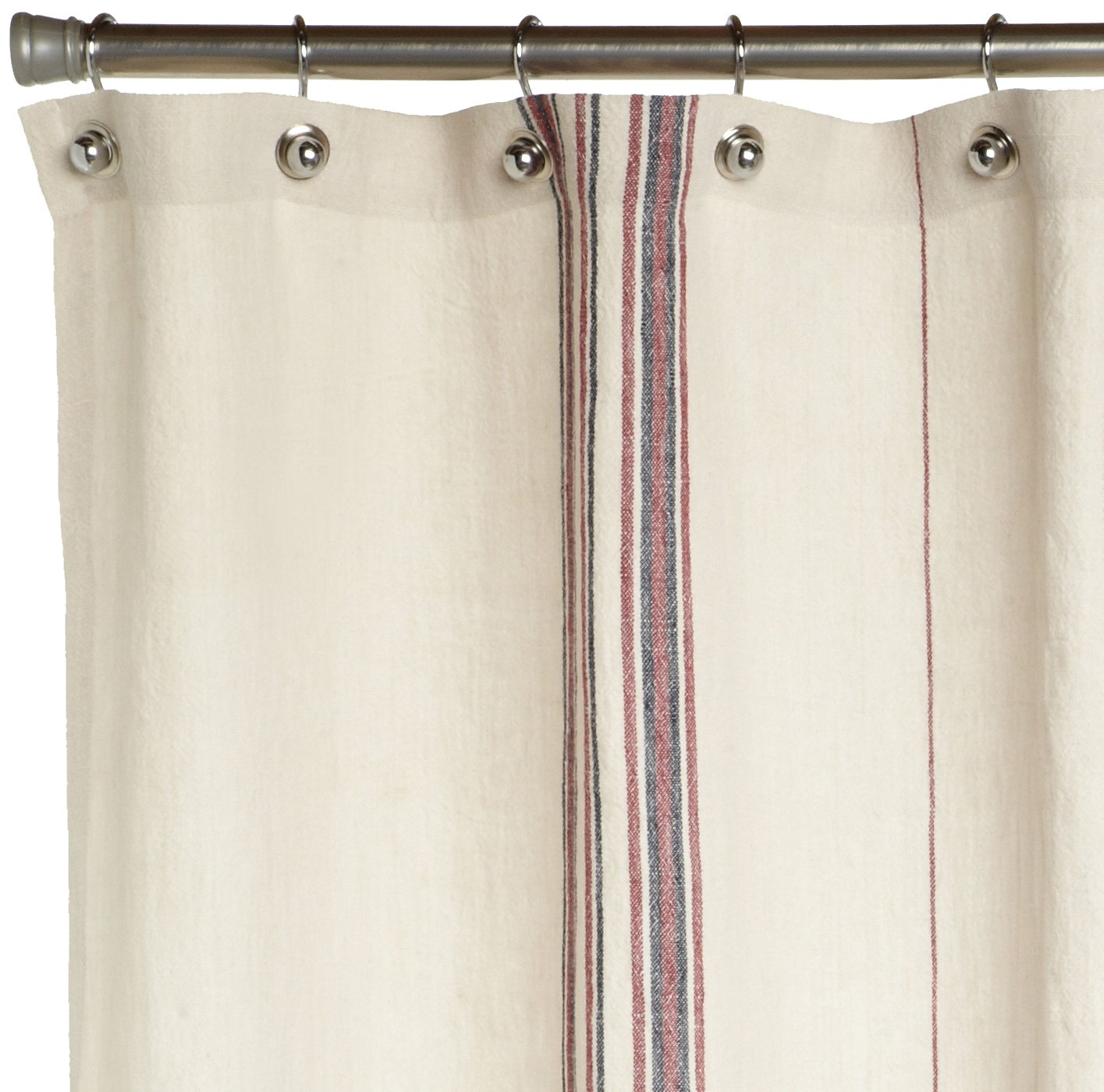 Amazon Coyuchi Rustic Linen Shower Curtain Natural With Red Indigo Home Kitchen