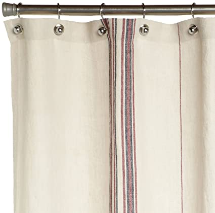 Amazon Coyuchi Rustic Linen Shower Curtain Natural With Red